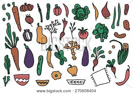Set Of Vector Vegetables. Collection Of Veg In Doodle Style Isolated On White Background.