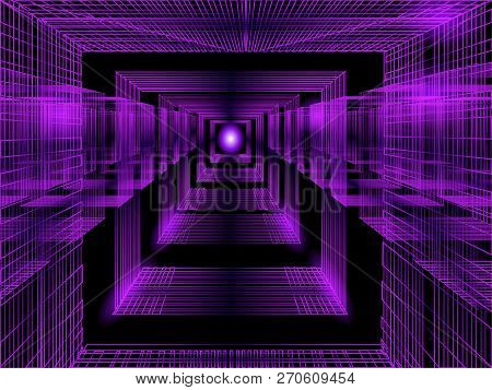 3d Purple Perspective Background For Concept Design. Vector Abstract Backdrop With Perspective. Line