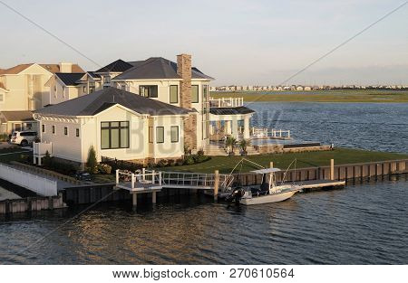 Avalon, New Jersey - June 26, 2018: A High-end Waterfront Beach House In Avalon, New Jersey, A Popul