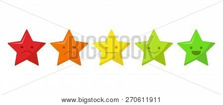 Five Stars Quality Rating Icon. Five Stars Customer Product Rating Review Isolated On White Backgrou