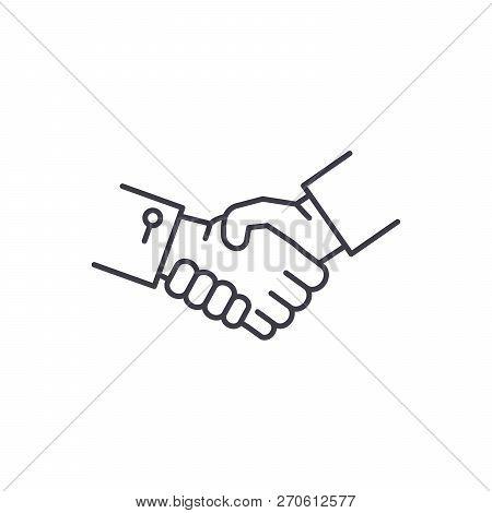 Shake Hands Line Icon Concept. Shake Hands Vector Linear Illustration, Symbol, Sign