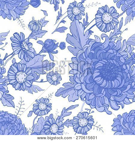 Blue And White Flowers Floral Seamless Pattern