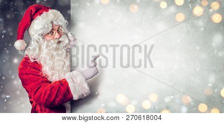 Santa Claus Pointing Blank Billboard - Wish List