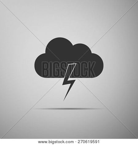 Storm Icon Isolated On Grey Background. Cloud And Lightning Sign. Weather Icon Of Storm. Flat Design