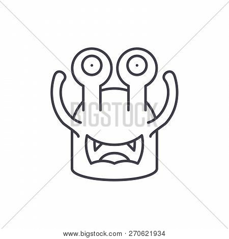 Toothy Cast Line Icon Concept. Toothy Cast Vector Linear Illustration, Symbol, Sign