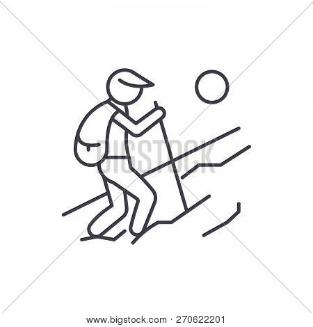 Tourist Walk Line Icon Concept. Tourist Walk Vector Linear Illustration, Symbol, Sign