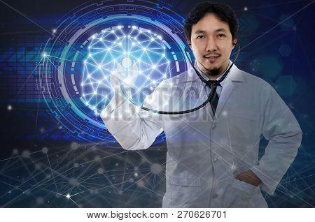 Asian Doctor Hand Holding The Stethoscope Equipment On Brain Over The Innovation Technology Backgrou