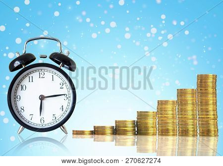 Stacks Of Gold Coins Step With The Vintage Clock On Abstract Photo Of Chrismas Background, Investmen
