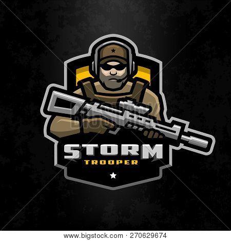 Storm Trooper Mascot, Logo Desing On A Dark Background.