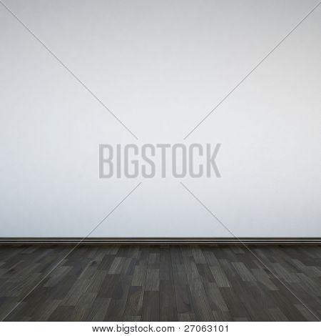 Em branco paredes brancas e piso de madeira