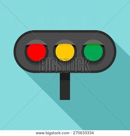Horizontal Traffic Lights Icon. Flat Illustration Of Horizontal Traffic Lights Vector Icon For Web D