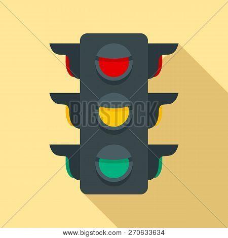 Crosswalk Semaphore Icon. Flat Illustration Of Crosswalk Semaphore Vector Icon For Web Design
