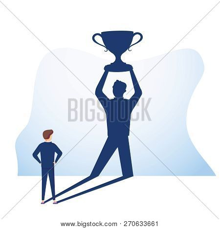The Vision Businessman Watches His Shadow And Contemplating About Success. Business Vector Concept I