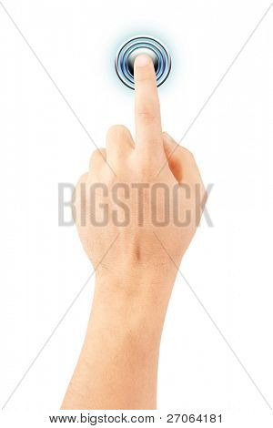 hand presses the button. isolated on white background