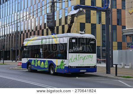 Krakow, Poland - July 12th 2018. One Of Krakows New Solaris Urbino Low Floor Electric Buses At A Cha