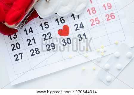 Female Monthly Cycle Calendar. Pills For Periodic Pain. Healthcare And Treatment.