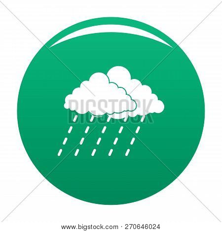 Cloud Rain Storm Icon. Simple Illustration Of Cloud Rain Storm Vector Icon For Any Design Green