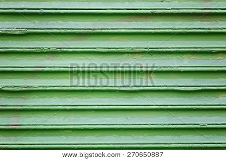Horizontal Green Painted Exterior Wall, With Rows Of Lines