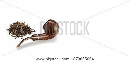 Smoking Pipe With Quality Tobacco Leaves On A White Background