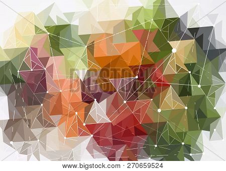 Abstract Polygonal Orange Red Green White Low Poly Background With Connecting Dots And Lines. Connec