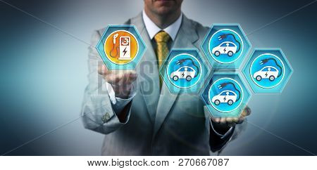 Male automotive executive highlighting the imbalance between the growing number of electric vehicles and the respective charging infrastructure. Industry concept for challenges of EV fleetification. poster