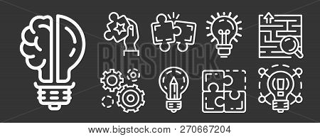 Solution Icon Set. Outline Set Of Solution Vector Icons For Web Design Isolated On Gray Background