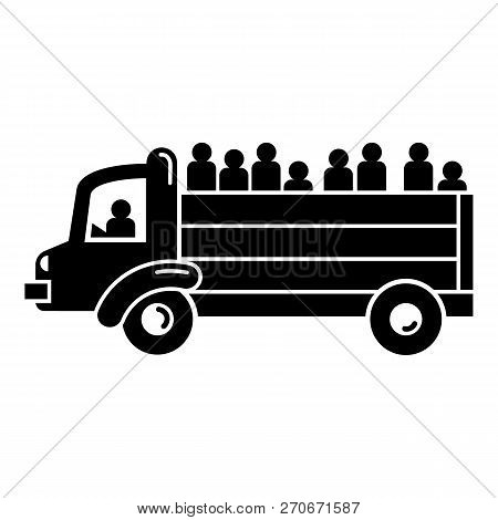 Refugee People Truck Icon. Simple Illustration Of Refugee People Truck Vector Icon For Web Design Is