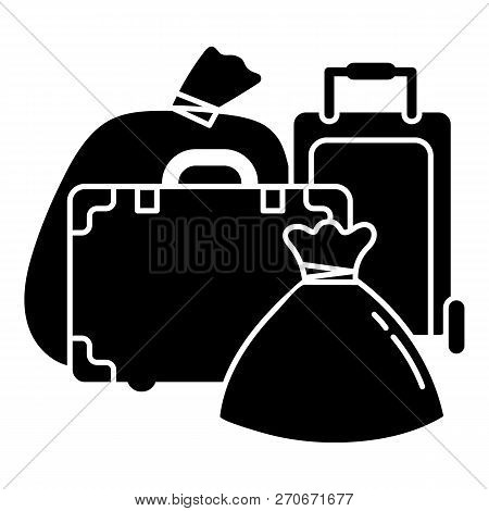 Migrant refugee bags icon. Simple illustration of migrant refugee bags vector icon for web design isolated on white background poster