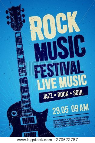 Vector Illustration Blue Rock Festival Concert Party Flyer Or Poster Design Template With Guitar, Pl