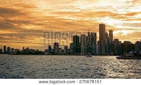 Chicago Downtown City Skyline At Sunset, Illinois
