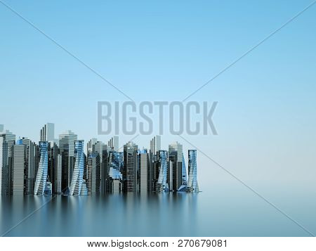 Futuristic Skyscrapers In The Flow Of Information. The Flow Of Digital Data. City Of The Future 3d R