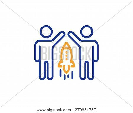 Partnership Line Icon. Business Management Sign. Launch Startup Project Symbol. Colorful Outline Con