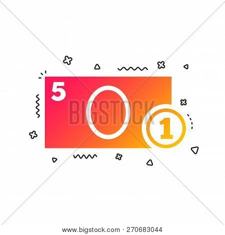 Cash Sign Icon. Money Symbol. Coin And Paper Money. Colorful Geometric Shapes. Gradient Cash Icon De