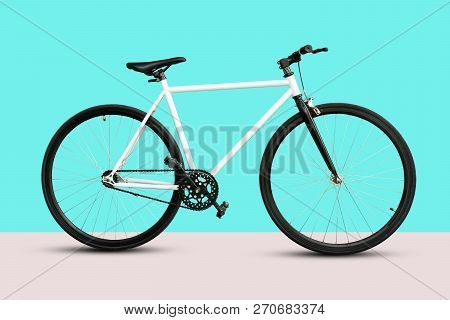 A Fixed Gear Bicycle Isolated On Blue Background