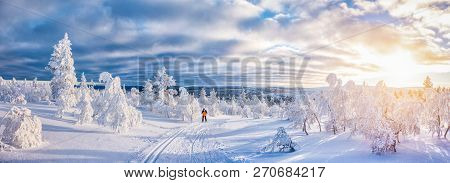 Panoramic View Of Young Man Cross-country Skiing On A Track In Beautiful Winter Wonderland Scenery I