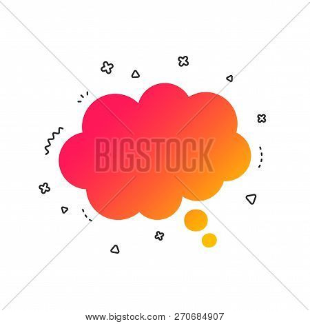 Comic Speech Bubble Sign Icon. Chat Think Symbol. Colorful Geometric Shapes. Gradient Speech Bubble