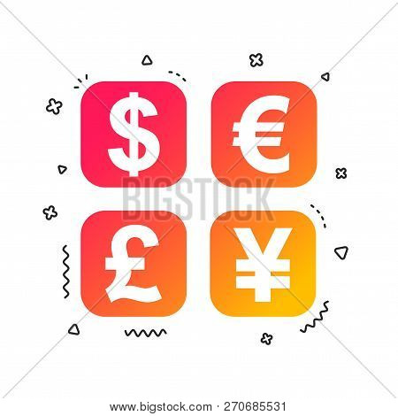 Currency Exchange Sign Icon. Currency Converter Symbol. Money Label. Colorful Geometric Shapes. Grad