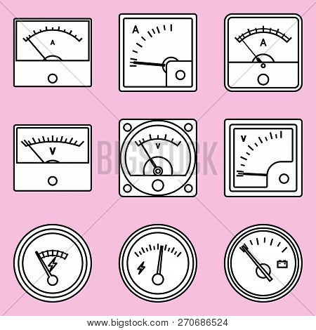 Voltmeter And Ammeter Icon Set. Measuring Tool. Vector Illustration