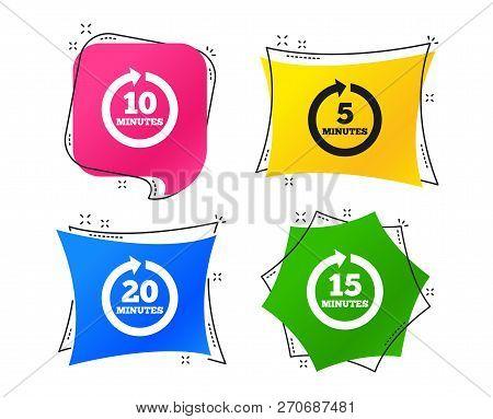 Every 5, 10, 15 And 20 Minutes Icons. Full Rotation Arrow Symbols. Iterative Process Signs. Geometri