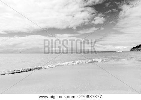Idyllic Scene Sand Tropic Beach Wave Blue Sea. Everyone Should Visit Tropic Resort St.johns Antigua.