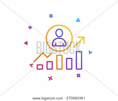 Business Results Line Icon. Career Growth Chart Sign. Gradient Line Button. Career Ladder Icon Desig