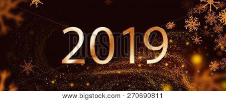 2018 Text Over Black Background With Swirl Sparckles.