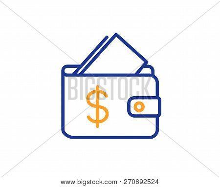 Wallet Line Icon. Affordability Sign. Cash Savings Symbol. Colorful Outline Concept. Blue And Orange