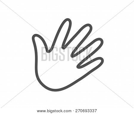 Hand Wave Line Icon. Palm Sign. Quality Design Flat App Element. Editable Stroke Hand Icon. Vector