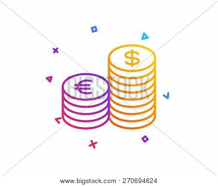 Coins Money Line Icon. Banking Currency Sign. Euro And Dollar Cash Symbols. Gradient Line Button. Cu