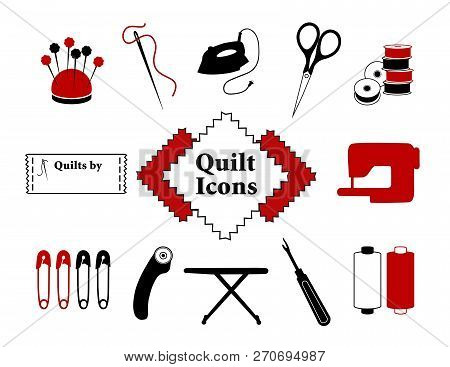 Quilt, Patchwork Icons For Do It Yourself Sewing, Pincushion, Flower Head Straight Pins, Needle, Thr