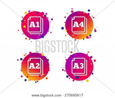 Paper Size Standard Icons. Document Symbols. A1, A2, A3 And A4 Page Signs. Gradient Circle Buttons W