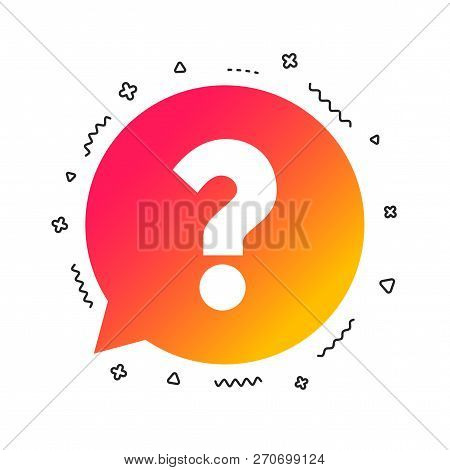 Question Mark Sign Icon. Help Speech Bubble Symbol. Faq Sign. Colorful Geometric Shapes. Gradient Qu