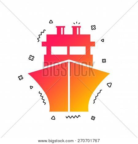 Ship Or Boat Sign Icon. Shipping Delivery Symbol. Colorful Geometric Shapes. Gradient Ship Icon Desi