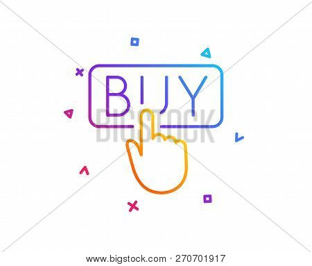 Click To Buy Line Icon. Online Shopping Sign. E-commerce Processing Symbol. Gradient Line Button. Bu